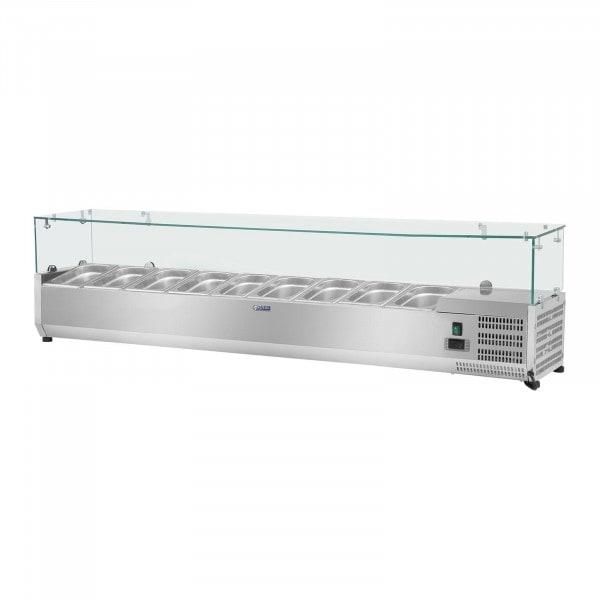Opzetkoelvitrine - 200 x 39 cm - 9 GN 1/3 containers - glasafdekking