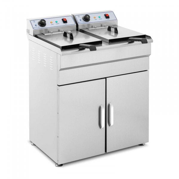 Elektrische friteuse - 2 x 16 liter - 400 V - onderkast
