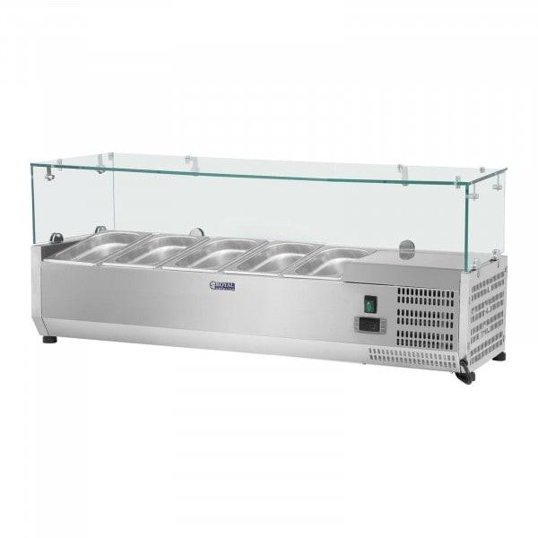 Opzetkoelvitrine - 120 x 33 cm - 5 GN 1/4 container - glasafdekking