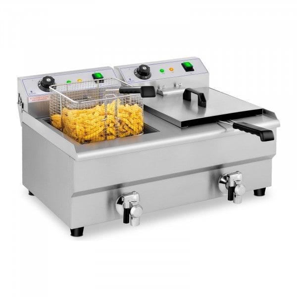 Elektro-Friteuse - 2 x 13 Liter - Aftapkraan - 230 V