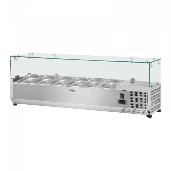 Opzetkoelvitrine - 140 x 33 cm - 6 GN 1/4 container - glasafdekking