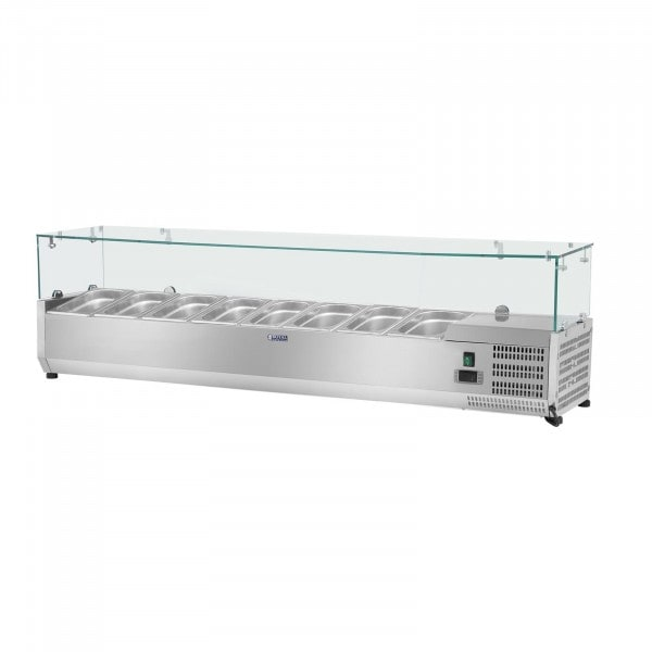 Opzetkoelvitrine - 180 x 39 cm - 8 GN 1/3 containers - glasafdekking