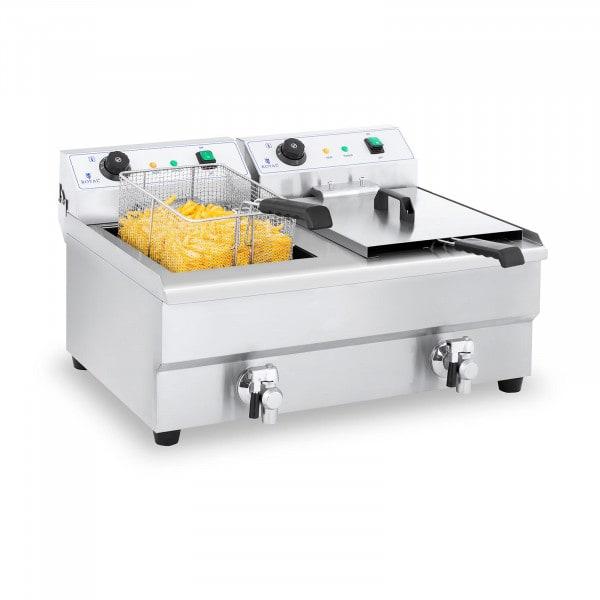 Dubbele elektrische friteuse - 2 x 16 liter met aftapkraan