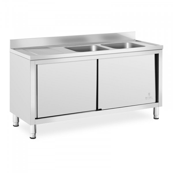 Wastafel kast - 2 Basin - Royal Catering - roestvrij staal - 400 x 400 x 250 mm