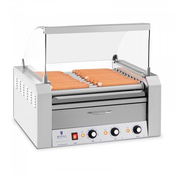Hotdog Grill - 11 rollen - Warmhoudlade - Roestvast staal