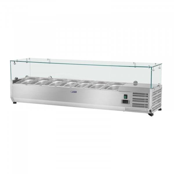 Opzetkoelvitrine - 160 x 39 cm - 7 GN 1/3 containers - glasafdekking