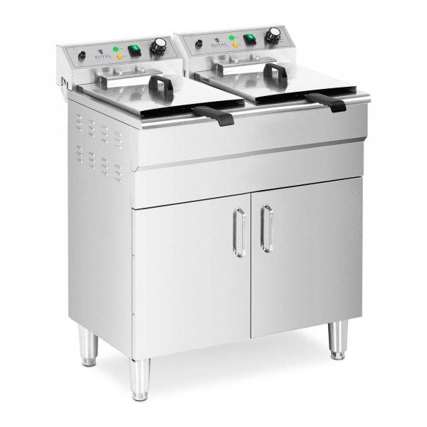 Dubbel - Elektrische friteuse - 26 L - 10.000 W - aftapkraan - koude zone - met onderkast