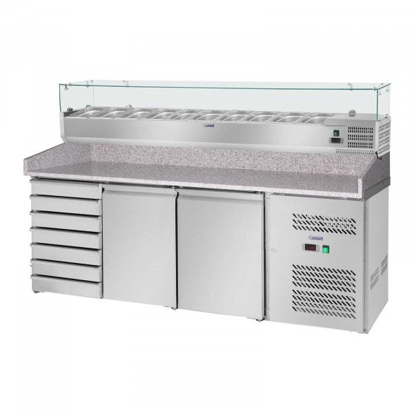 Pizzawerkbank met opzetkoelvitrine - 702 L - Granieten werkblad - 2 Deuren