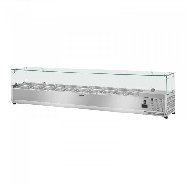 Opzetkoelvitrine - 200 x 33 cm - 10 GN 1/4 container - glasafdekking