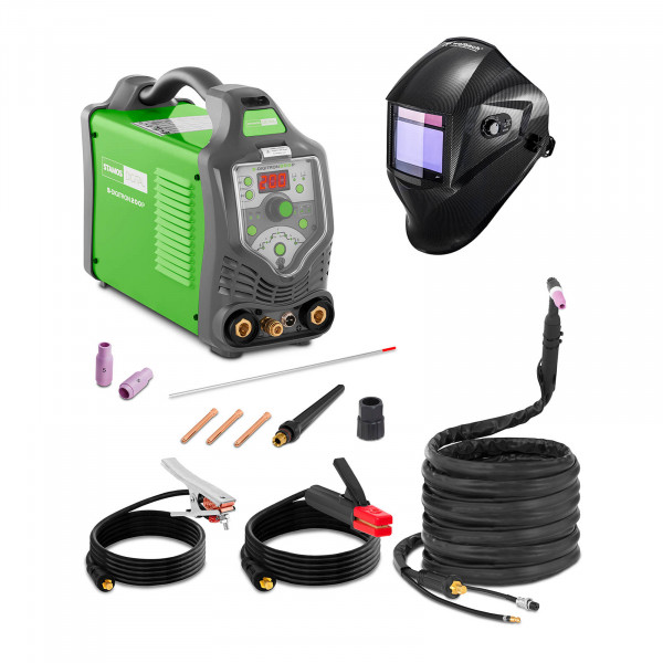 Lasmachine TIG - 200 A - 230 V - Pulserend - Digitaal - 2/4 takt + Lashelm – Carbonic – PROFESSIONAL SERIES