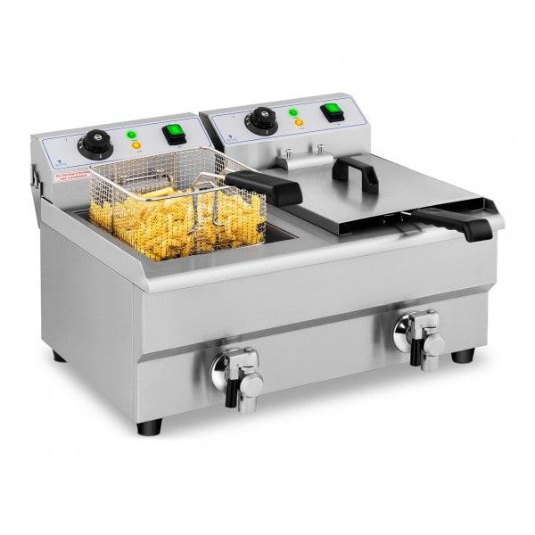 Elektro-Friteuse - 2 x 10 Liter - Aftapkraan - 230 V