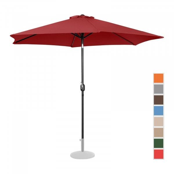 Tweedehands Grote parasol - bordeaux - zeshoekig - Ø 300 cm- kantelbaar