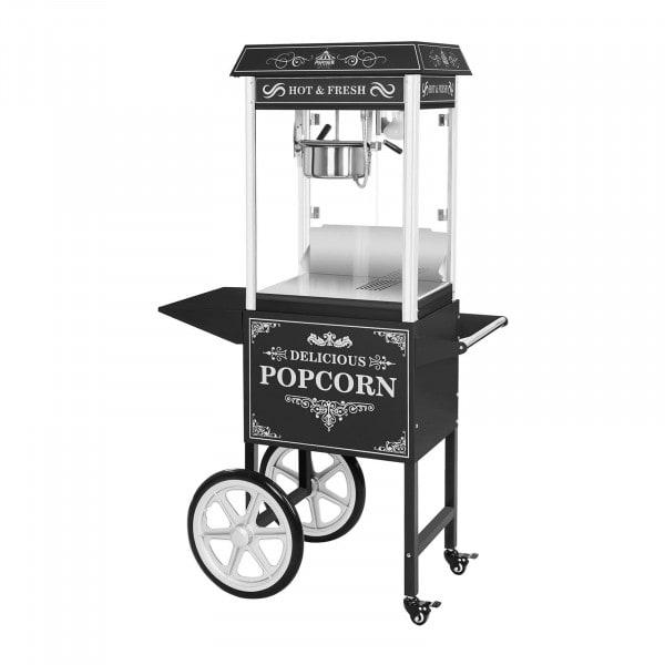 Popcornmachine met onderstel - Retro-ontwerp - Zwart